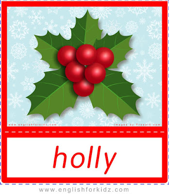 holly, Christmas flashcards for ESL students