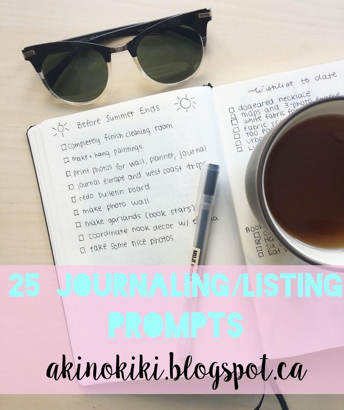 25 Journaling/Listing Prompts | Akinokiki