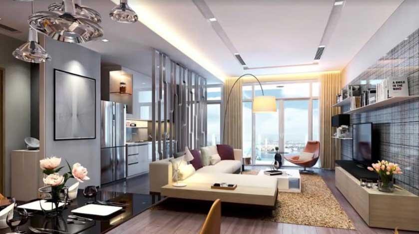 Phòng khách Vinhomes Smart City với những trang thiết bị nội thất chất lượng cao