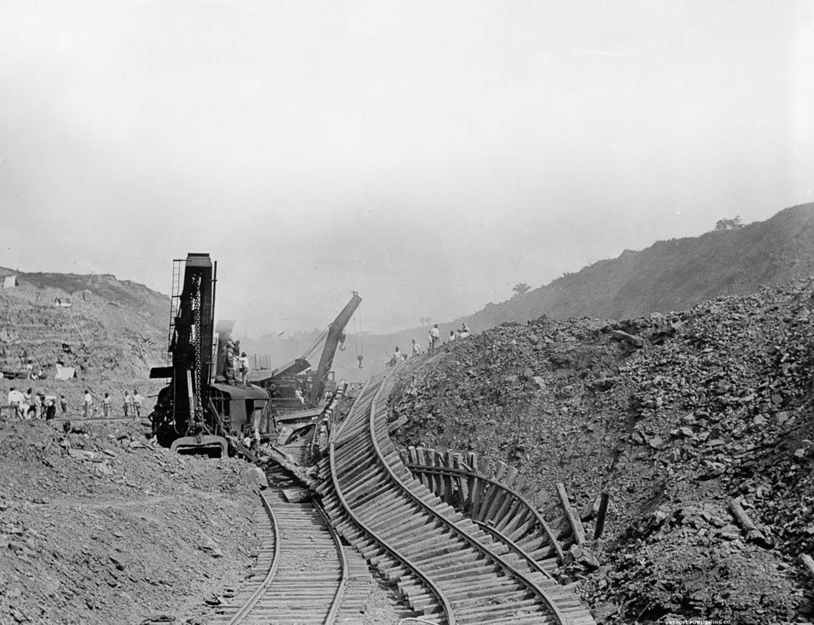 A railroad is displaced after a landslide. 1910.