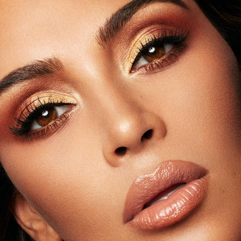 Kim Kardashian wears shimmering eyeshadow from KKW Beauty x Mario campaign