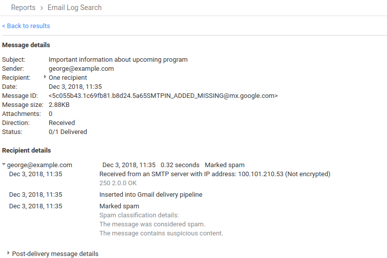 G Suite Updates Blog: Better information on spam messages in