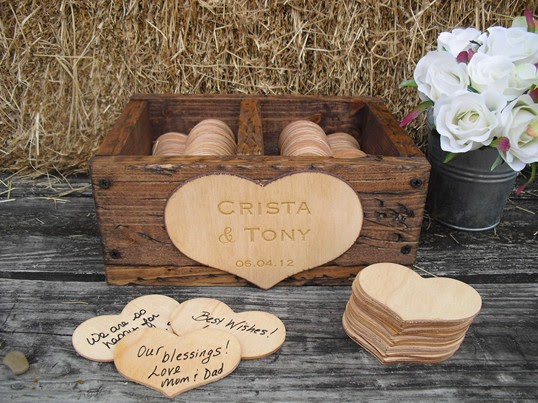 rustic Wedding Guest Book Alternative love heart wood