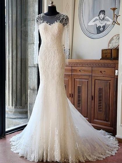 Original Trumpet/Mermaid Scoop Neck Tulle Beading Chapel Train Long Sleeve Wedding Dresses