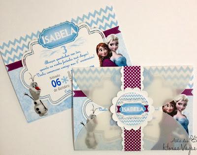 convite artesanal aniversário infantil personalizado princesas irmãs elsa ana anna frozen let go neve festa 1 ano aninho menina envelope papel vegetal delicado scrap scrapbook