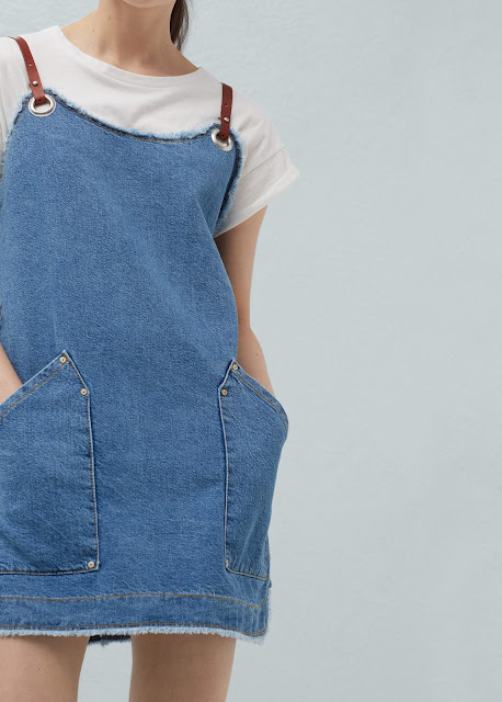 denim dress leather shoulder strap, leather strap denim dress, mango denim leather dress,