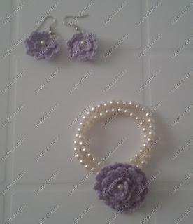 brinco,brinco crochê, flor crochê, brinco flor, brinco flor crochê,  pulseira, pulseira crochê, pulseira flor crochê