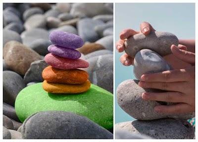 Manualidad mágica mini torre de piedras de equilibrio casera