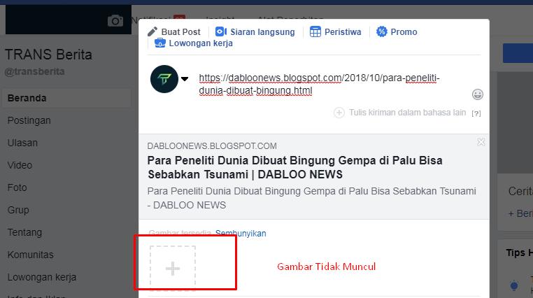 Cara Mengatasi Gambar Blog Tidak Muncul Saat Di Share Di Fanspage Facebook