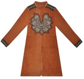 Mustard Velvet-Silk Antique Tilla Kashmiri Kashida Jacket