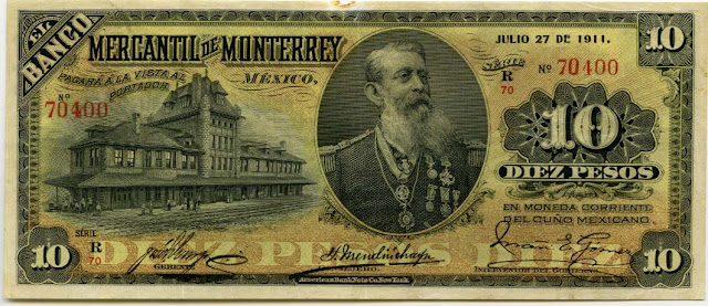 Mexican revolution Peso currency paper money bill