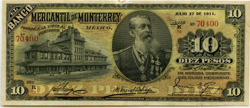 Mexico Banknotes 10 Pesos Note Of 1911 Banco Mercantil De Monterrey World Banknotes Amp Coins