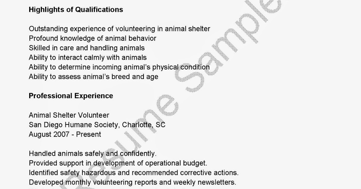 Resume Samples Animal Shelter Volunteer Resume Sample