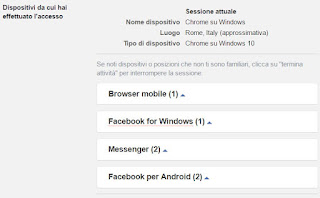 dispositivi connessi a facebook