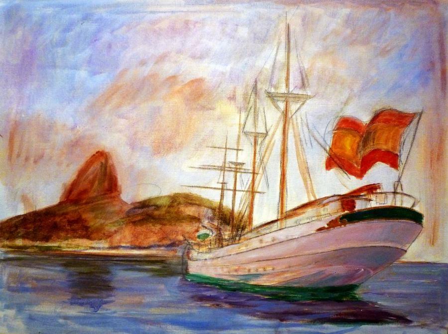Pintura al oleo del buque Juan Sebastián Elcano en Rio de Janeiro visto desde popa