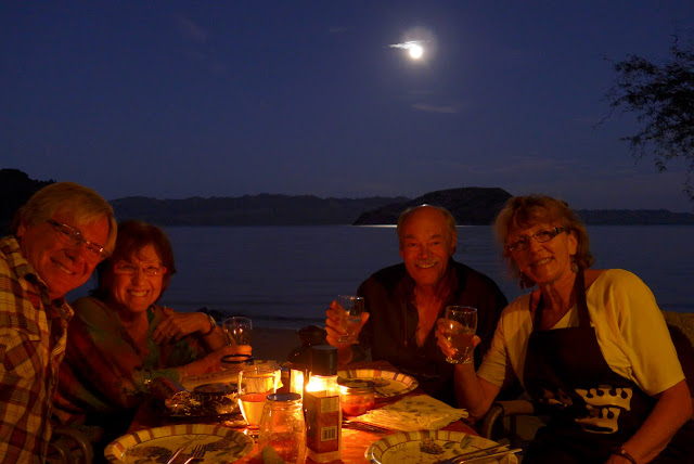 Enjoying dinner with friends while boondocking on Coyote Beach, Baja Mexico.