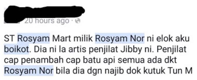 Boikot Pasaraya ST Rosyam Mart Milik Rosyam