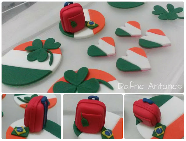 Cupcakes da Irlanda coração, trevo, bandeira e mala - Irealand cupcakes - irish