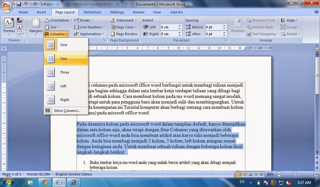 Cara Membuat Kolom Columns Di Ms Word Tutorial Komputer
