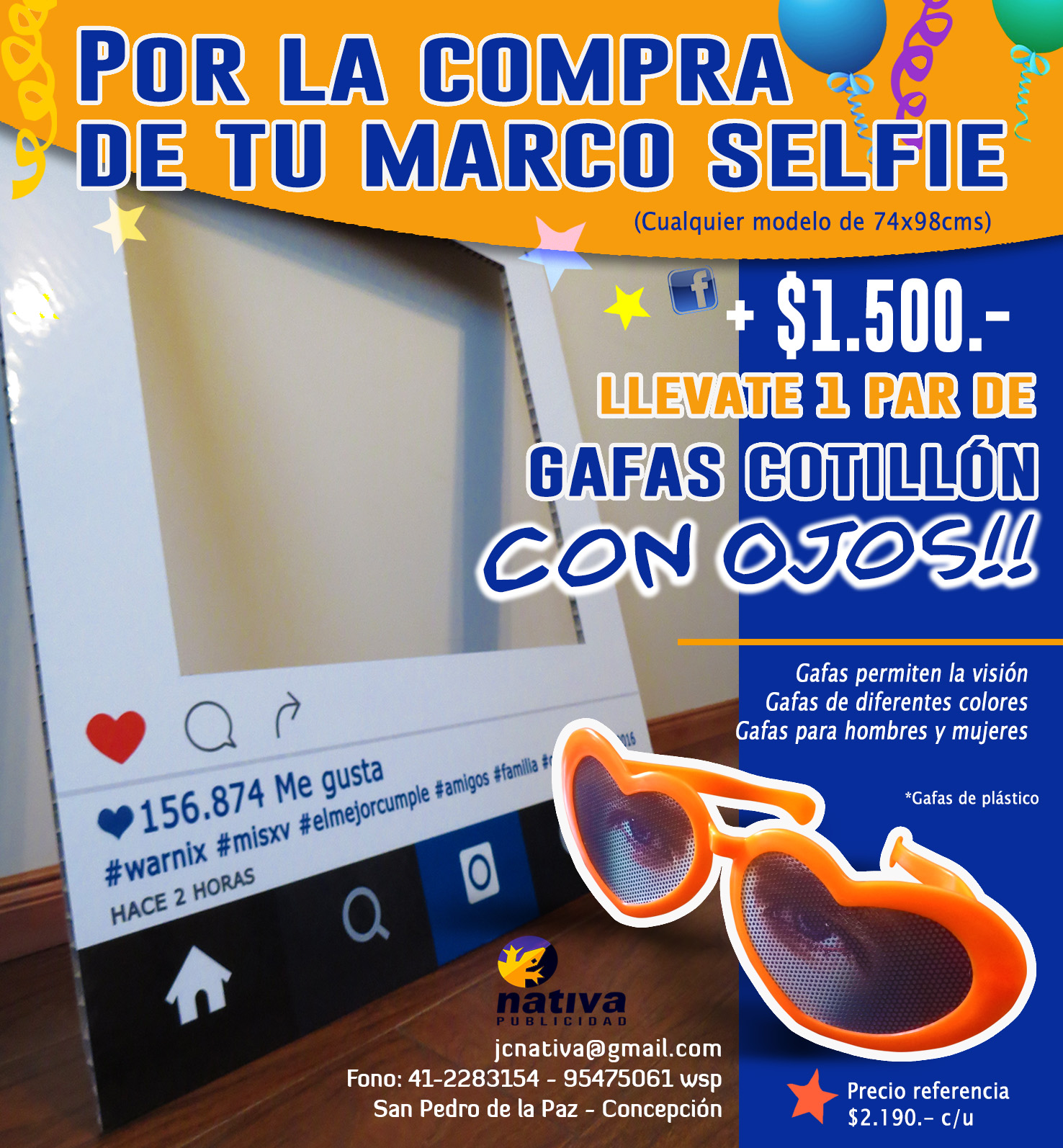 MARCOS SELFIES INSTAGRAM PARA FIESTAS / COTILLÓN / SELFIES en Concepción