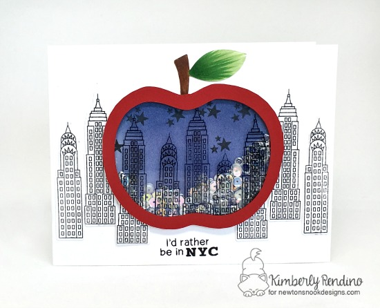 newton dreams of New York | newton's nook designs | kimpletekreativity.blogspot.com | New York | Big Apple | skyscrapers | shaker card | sequins | handmade card | clear stamps  | papercraft | cardmaking