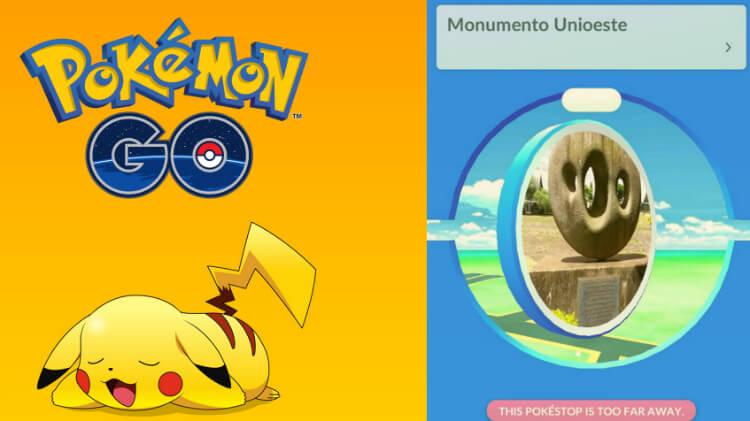 Pokémon Go - PokéStop no monumento da Unioeste