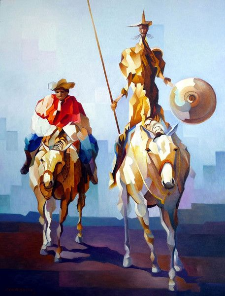 El Quijote (painting by Damiao Martins) with audio. Visit www.soeasyspanish.com  #español #spanish #learnspanish