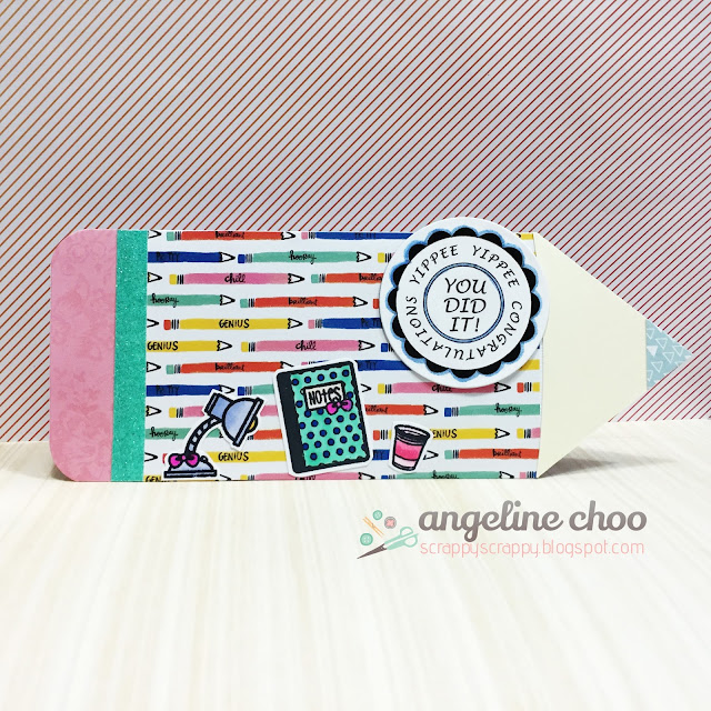 ScrappyScrappy: Pencil Shaped Card with The Cutting Cafe #scrappyscrappy #thecuttingcafe #shapedcard #card #cardmaking #papercraft #amytangerine #sweetstampshop #stamp #collegeplans #congratulations #diecut #coloring