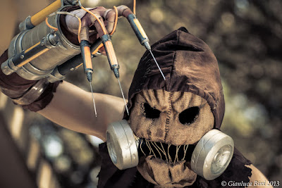steampunk scarecrow costume with hood, mask and gloves