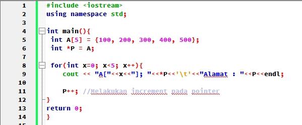 Source code program Pointer ke Array