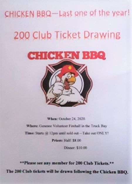 10-24 Chicken BBQ At Genesee Firehall