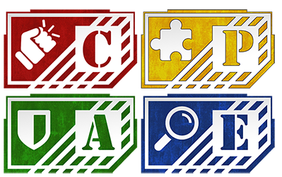letters and symbols in primary colors: C with a fist in red, A with a shield in green, P with a puzzle piece in yellow, and E with a magnifying glass in blue.