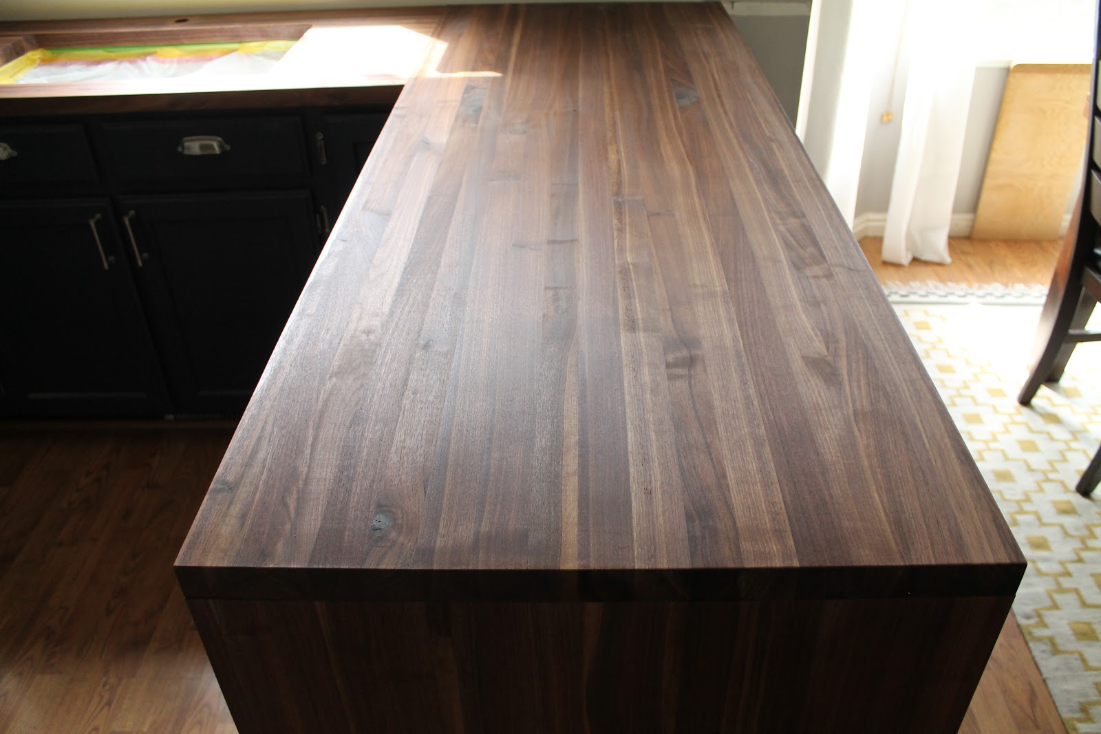 & Our Walnut Countertops-Sanded Sealed and Finished! - Chris Loves Julia