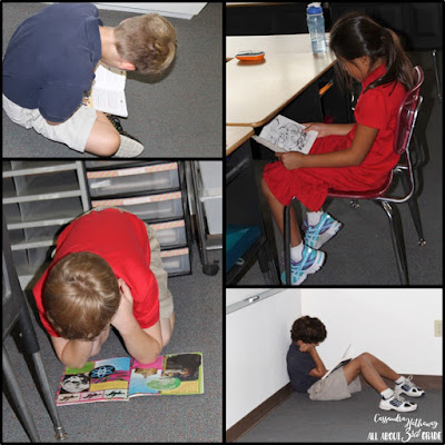 Students choose where they want to sit, and some days they find creative ways to sit, but then they are engaged and reading!