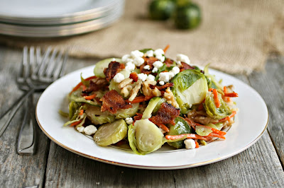 Brussels Sprouts Salad with Bacon and Walnuts
