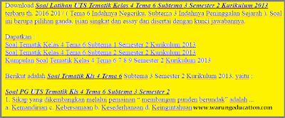 Download dan dapatkan soal Soal Tematik Kelas 4 Tema 6 Subtema 3 Semester 2 Kurikulum 2013 th. 2017