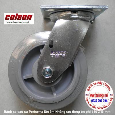 Bánh xe cao su đặc xoay phi 150 Colson chịu lực 270kg | 4-6109-459 www.banhxeday.xyz