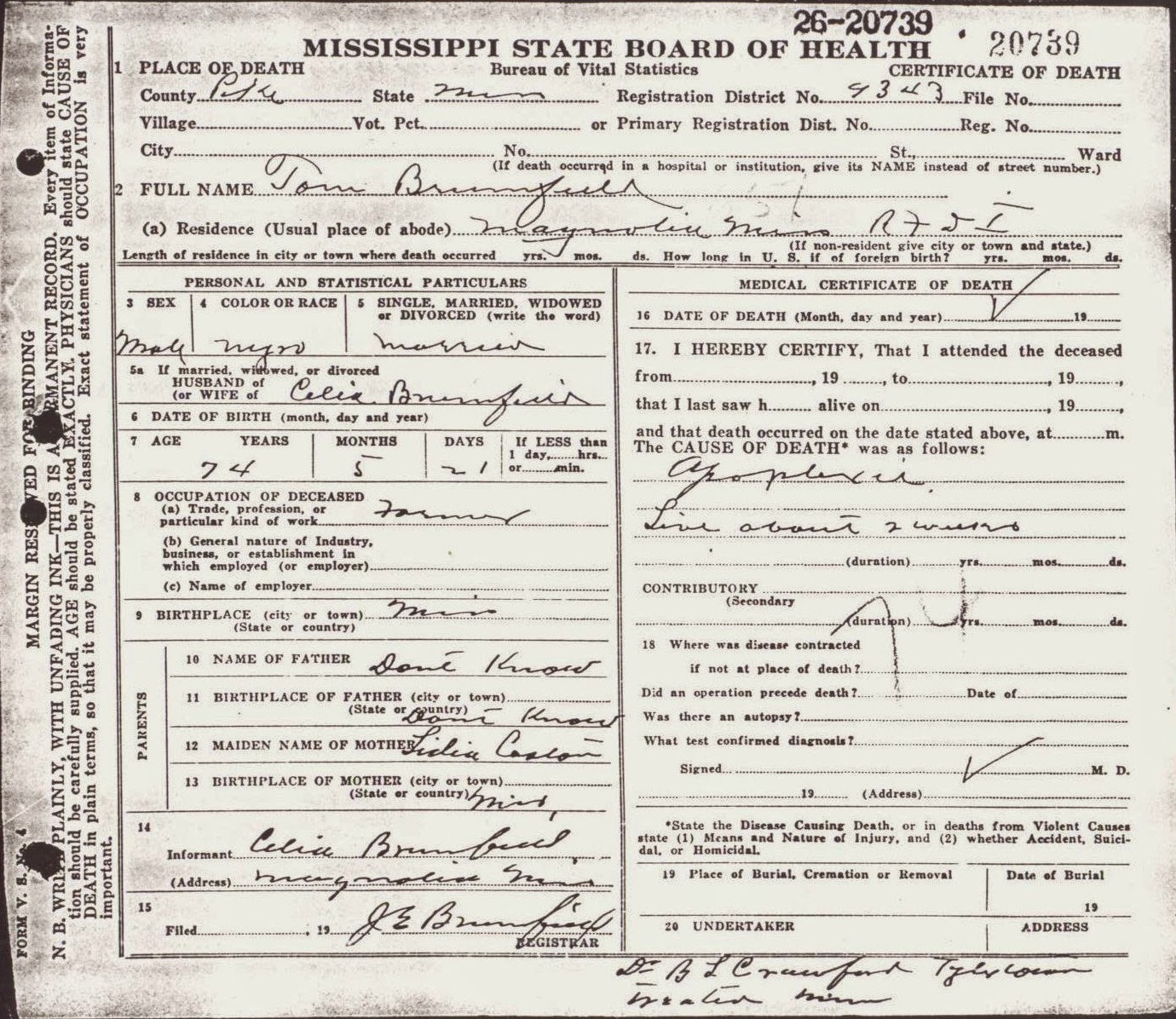 Brumfield genealogy and other branches and trees six degree of on his death certificate lidia caston is his mother and celia brumfield was the informant xflitez Images