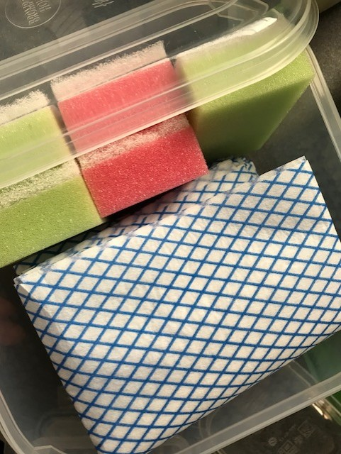 Box of scourers and cloths
