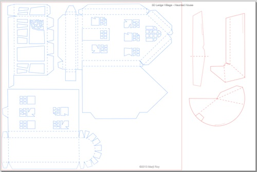 3d Haunted House Pattern Printable