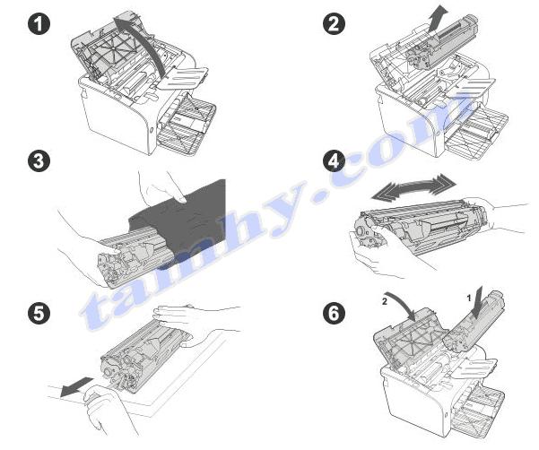 Các bước thay thế mực máy in Hp M12A, M12W