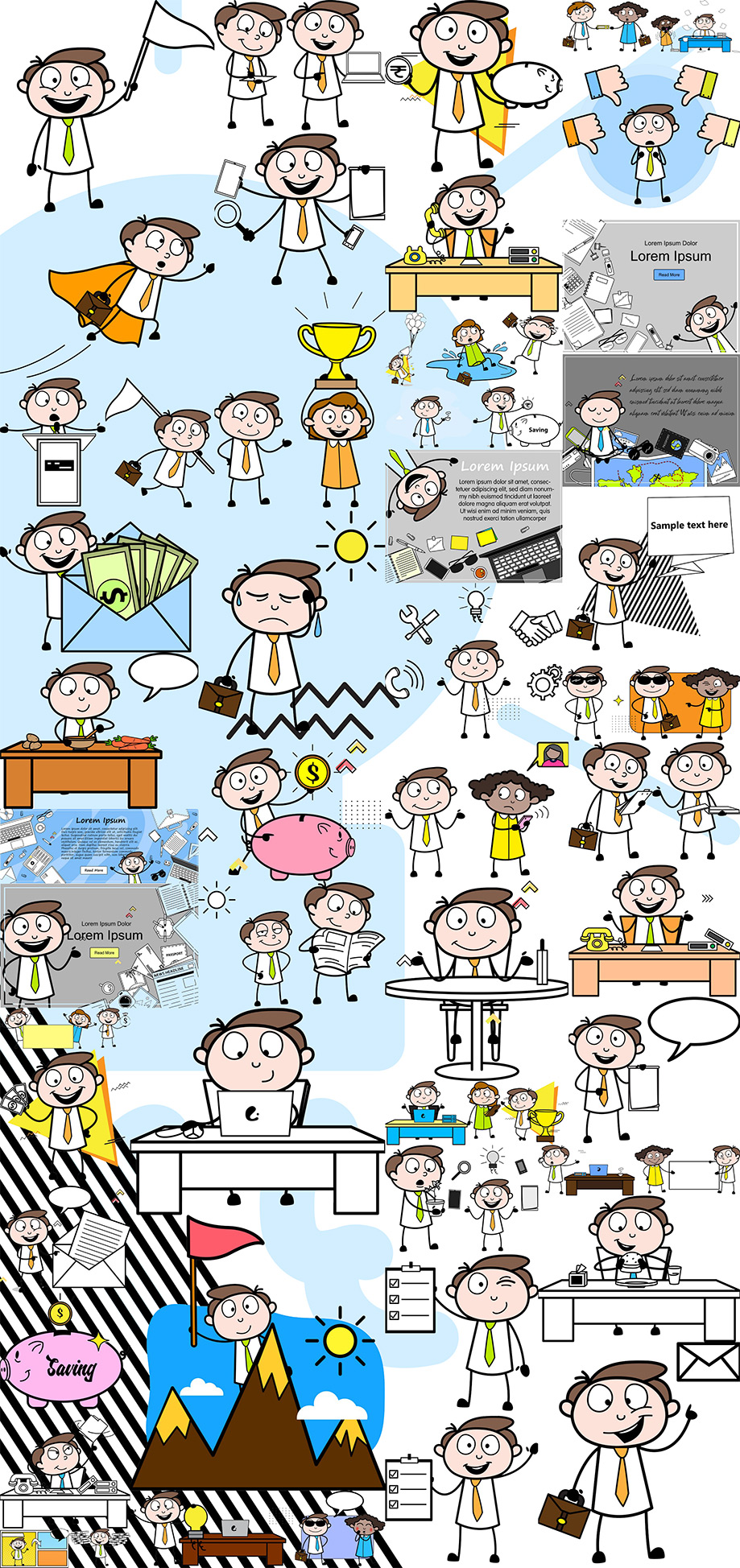 Businessman Vector Cartoon Series Pack - Royalty Free - Easy To Use