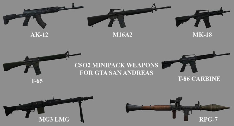 Download, mod, Minipack de armas do CSO2, GTA San Andreas