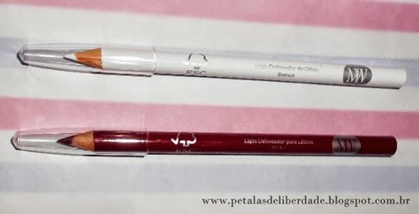 lápis delianeador de olhos, branco, lápis delineador de lábios, Maquiagem na Web, MW, comprar maquiagem na internet, beleza