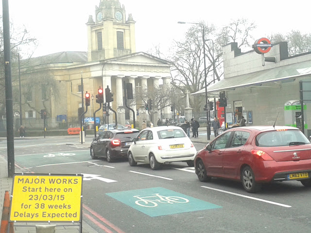 Photo of Kennington junction as works begin -lambethcyclists.org.uk