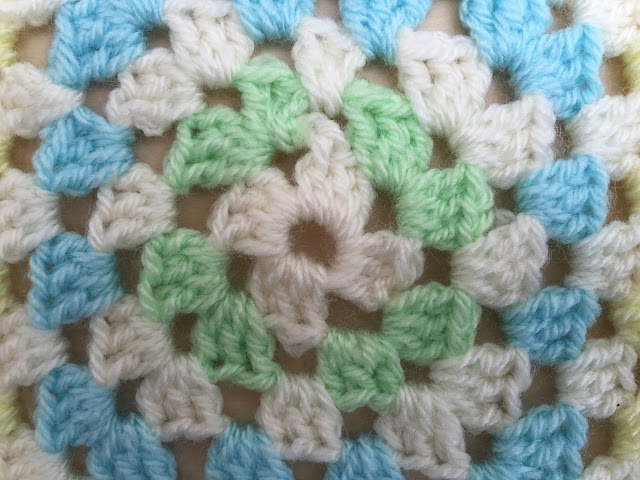 Giant granny square close up
