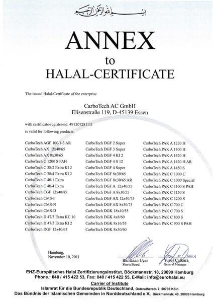 Halal Certificate Karbon Aktif CarboTech