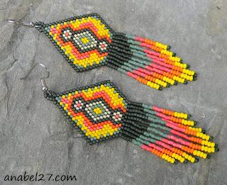 бисерные этно серьги бижутерия купить украшения ручной работы в индейском стиле