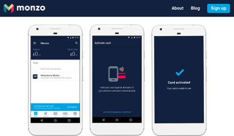 Activation de carte dans l'app Monzo