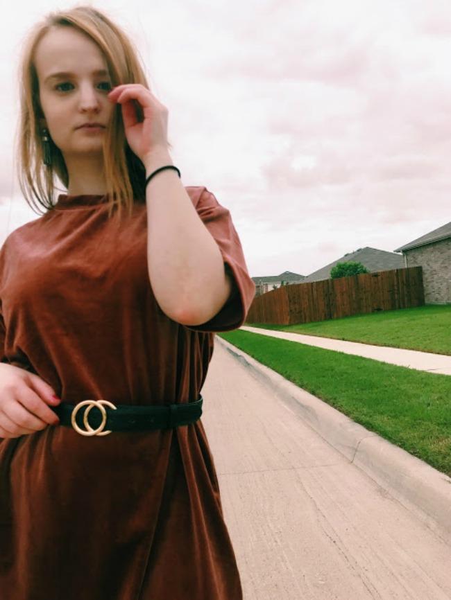 Gucci Dupe Belt With Velvet Dress